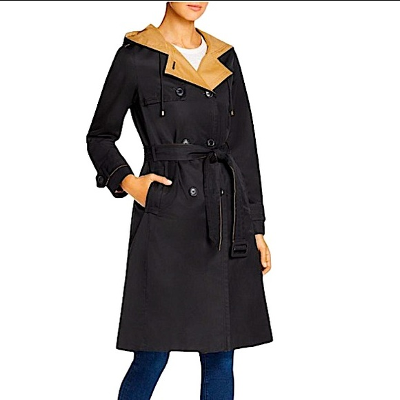 SOLD Kate Spade Lined Trench Coat in Black French Khaki L NWT